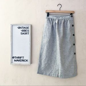 Grey Aline Skirt Featuring Side Buttons | Vintage